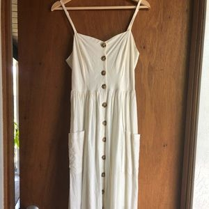 Cream linen midi button dress